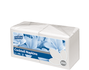 Premium 2-Ply Cocktail Paper Serviettes, White