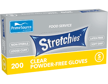 Stretchies Clear Disposable Plastic Gloves (Small)