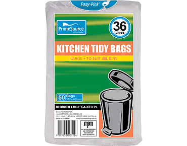 Kitchen Tidy Bags, Bin Liners (Large White)