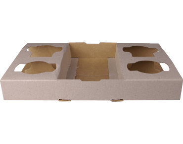 Cardboard 4-Cup Coffee Carry Tray